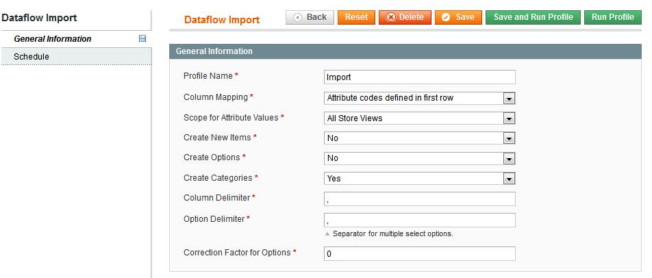 Dataflow general tab