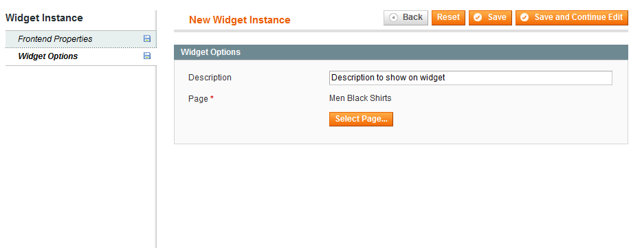 Landing Pages Widget Options