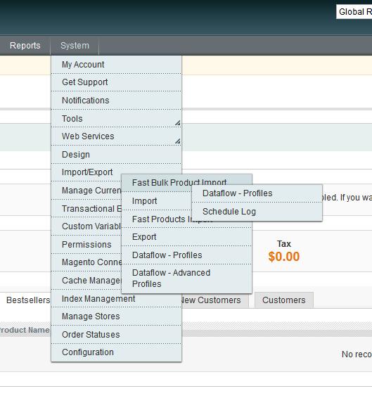 Dataflow menu